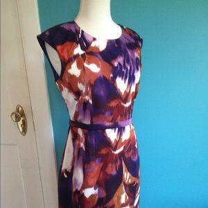 Elie Tahari linen fully lined fall dress